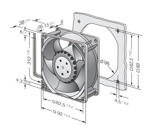 Вентилятор Ebmpapst 3214JH4 92x92x38мм DC осевой, габарит, размер, чертёж