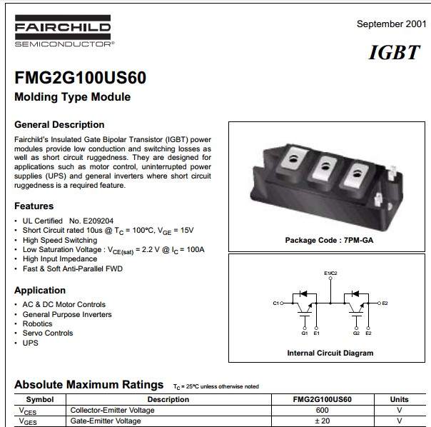 FMG2G100US60 Igbt molding 600v 100a 7pm-ga