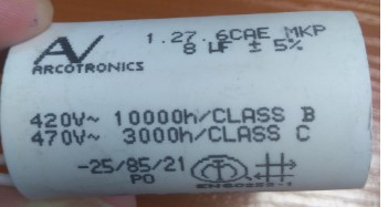 arcotronics 1.27.6 cae mkp, конденсатор, пусковой