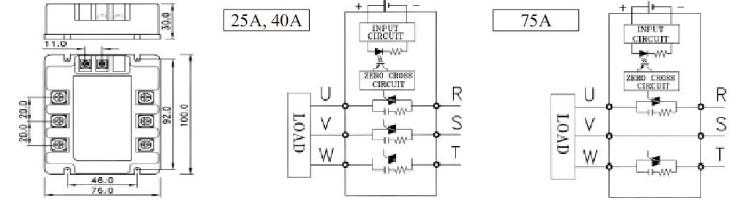 Технические характеристики Трехфазные реле (TSR серия)